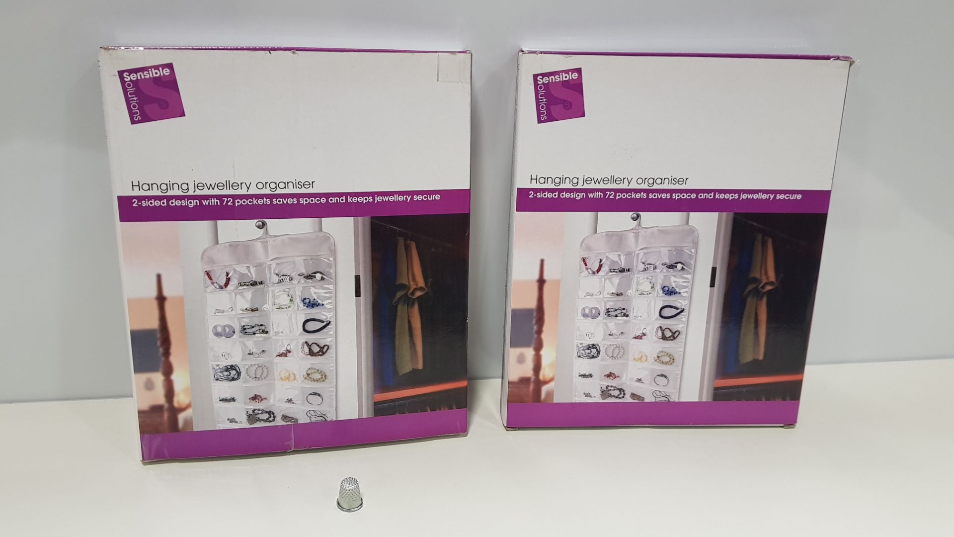 15 X BRAND NEW HANGING JEWELLRY ORGANISER- 2 SIDED DESIGN WITH 72 POCKETS