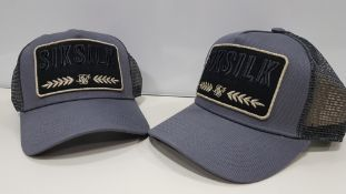 30 X BRAND NEW BAGGED SIKSILK GREY WASHED COTTON MESH TRUCKER CAP - IN ONE TRAY (TRAY NOT INCLUDED)