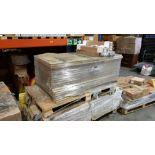 14 X SET OF 2 BACK PANELS WHITE/ GREY OAK EFFECT AND 136 X FRONT PANELS NATURAL OAK EFFECT