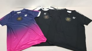 24 PIECE CLOTHING LOT CONTAINING 8 X BRAND NEW BLACK SIK SILK RAGLAN FOIL FADE GYM TEE IN VARIOUS