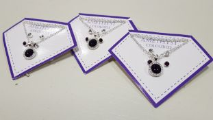 136 X BRAND NEW AVON NADYA 3 PIECE BIRTHSTONE GIFTSET - AMETHYST COLOURED 1 X NECKLACE AND 2 X PAIRS