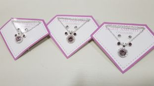 136 X BRAND NEW AVON NADYA 3 PIECE BIRTHSTONE GIFTSET- LIGHT AMETHYST COLOURED, 1 X NEKLACE AND 2