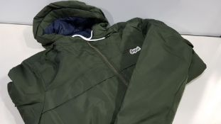 7 X BRAND NEW JACK AND JONES ORIGINALS GREEN PUFFED COATS SIZE SMALL AND MEDIUM