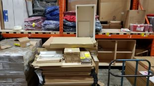 VARIOUS KITCHEN CARCASE PEARWOOD 18MM AND DOORS AND PANNELS DRAW SET ETC CONTAINED ON A FULL PALLET