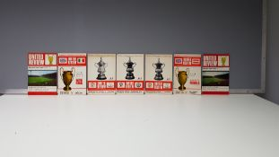 7 X OFFICIAL MANCHESTER UNITED PROGRAMMES WITH CARTOON TOKENS IN NEAR MINT CONDITION TO INCLUDE -