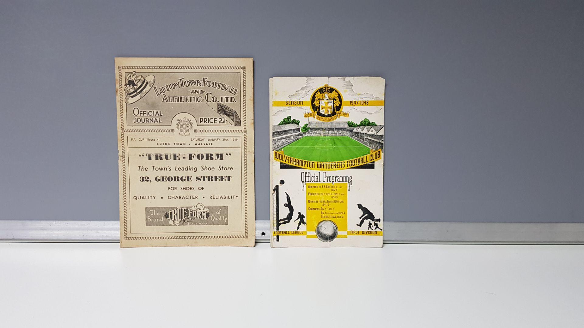 2 X OTHER PROGRAMMES - LUTON TOWN VS WALSALL SAT 29TH JAN 1949 & WOLVERHAMPTON WANDERERS VS