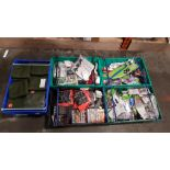 5 TRAYS CONTAINING VARIOUS ACCESSORIES IE BARBEQUE AND CHIMNEA LIGHTING GEL, BRITISH RAILWAY JOURNEY