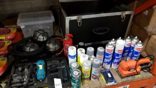 30 + PIECE TOOL LOT CONTAINING, VARIOUS CAR PLAN SPRAY PAINTS, DE ICERS, BRUSH ON PAINT AND COPPER