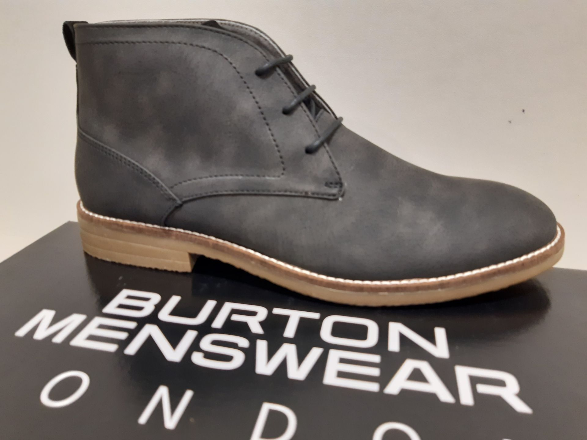 5 X BRAND NEW BURTON GREY LEATHER LOOK CHUKKER BOOTS SIZES UK 8 AND 9