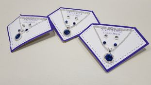 136 X BRAND NEW AVON NADYA 3 PIECE BIRTHSTONE GIFTSET - SAPPHIRE COLOURED 1 X NECKLACE AND 2 X PAIRS