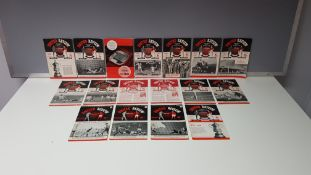 14 X OFFICIAL MANCHESTER UNITED PROGRAMMES WITH BLANK TOKEN BOX IN NEAR MINT CONDITION TO