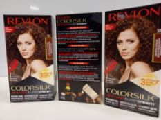 48 X BRAND NEW REVLON COLORSILK ALL IN ONE BUTTERCREAM MEDIUM NATURAL BROWN HAIR COLOUR IN 4 BOXES