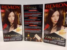 48 X BRAND NEW REVLON COLORSILK ALL IN ONE BUTTERCREAM BROWN BLACK HAIR COLOUR IN 4 BOXES