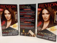 48 X BRAND NEW REVLON COLORSILK ALL IN ONE BUTTERCREAM DARK SOFT MAHOGANY BROWN HAIR COLOUR IN 4