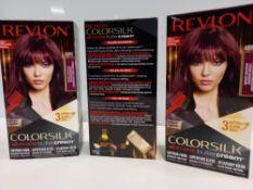 48 X BRAND NEW REVLON COLORSILK ALL IN ONE BUTTERCREAM BURGUNDY HAIR COLOUR IN 4 BOXES