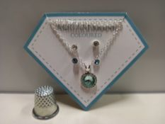 30 + NADYA 3 PIECE BIRTHSTONE GIFTSET - AQUAMARINE COLOURED - 1 X NECKLACE AND 2 X PAIRS OF EARRINGS