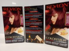 48 X BRAND NEW REVLON COLORSILK ALL IN ONE BUTTERCREAM RED BURGUNDY HAIR COLOUR IN 4 BOXES