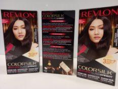 48 X BRAND NEW REVLON COLORSILK ALL IN ONE BUTTERCREAM BLUE BLACK HAIR COLOUR IN 4 BOXES