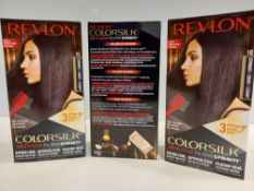48 X BRAND NEW REVLON COLORSILK ALL IN ONE BUTTERCREAM VIOLET BLACK HAIR COLOUR IN 4 BOXES