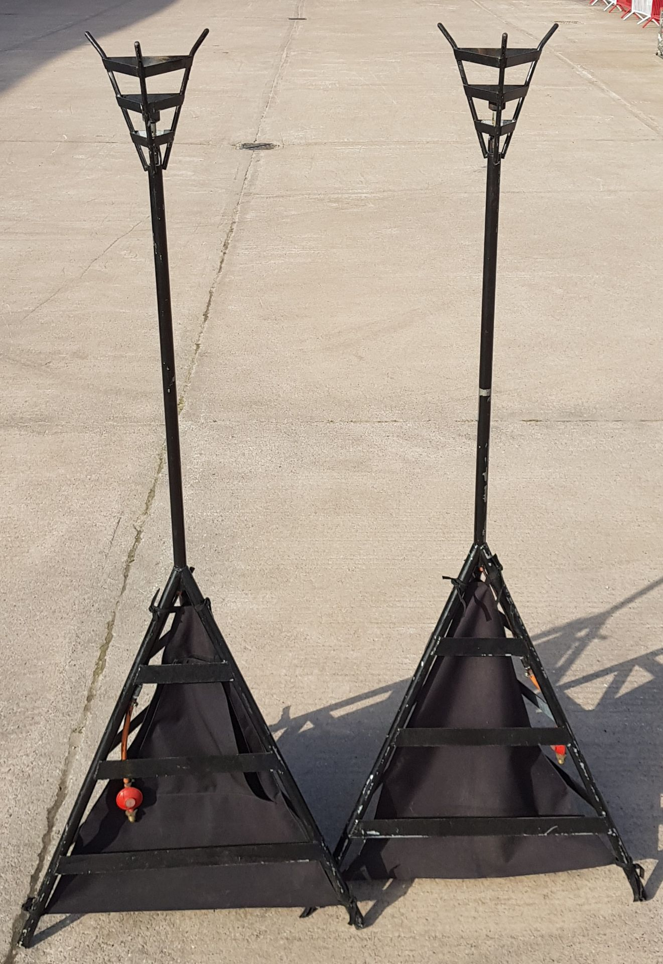 2 X 8FT GAS FLAMBEAUX (USED FOR EVENTS & PROMOTIONS) - BLACK FINISH - EX HIRE DISPLAY (IE. MAY