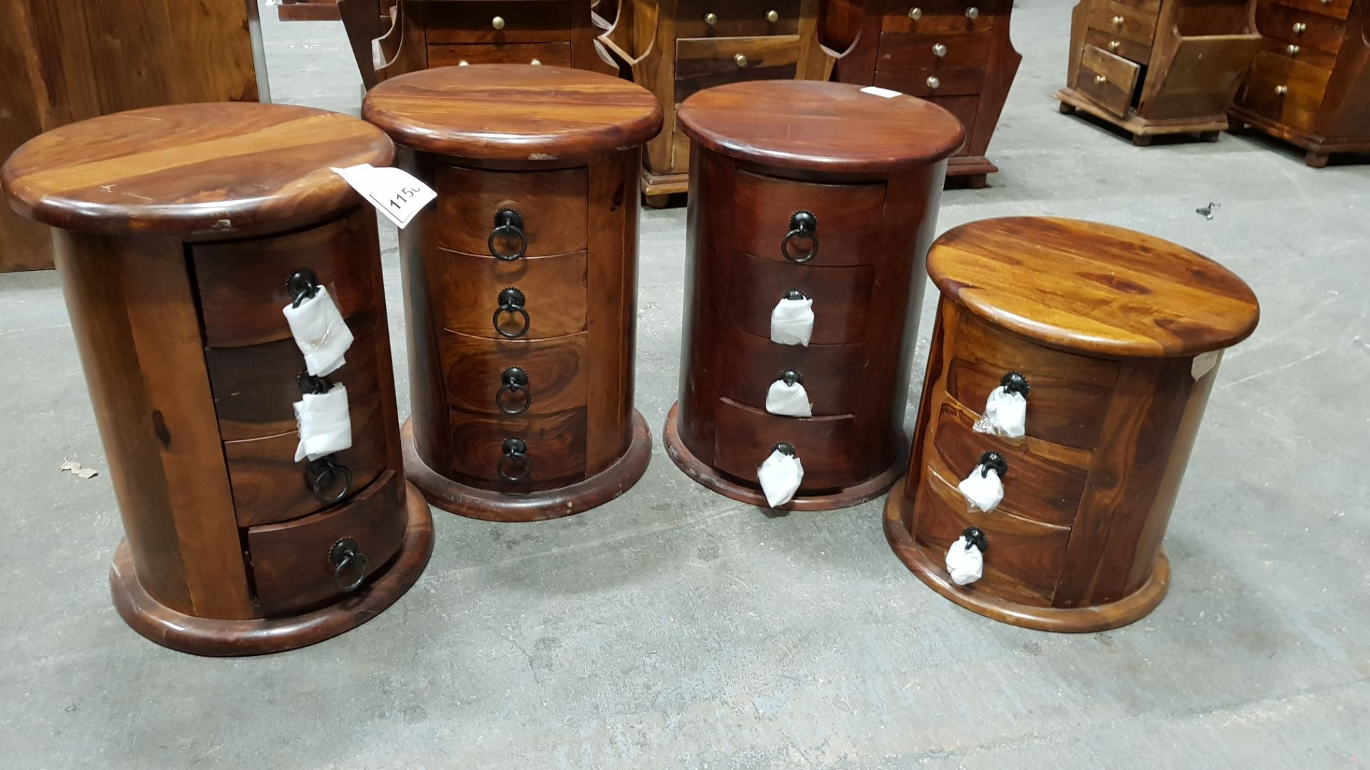 3 X SOLID WOOD ACACIA 4 DRAWER DRUMS SIZE-38X38X52CM 1X SOLID WOOD ACACIA 4 DRAWER DRUM SIZE-