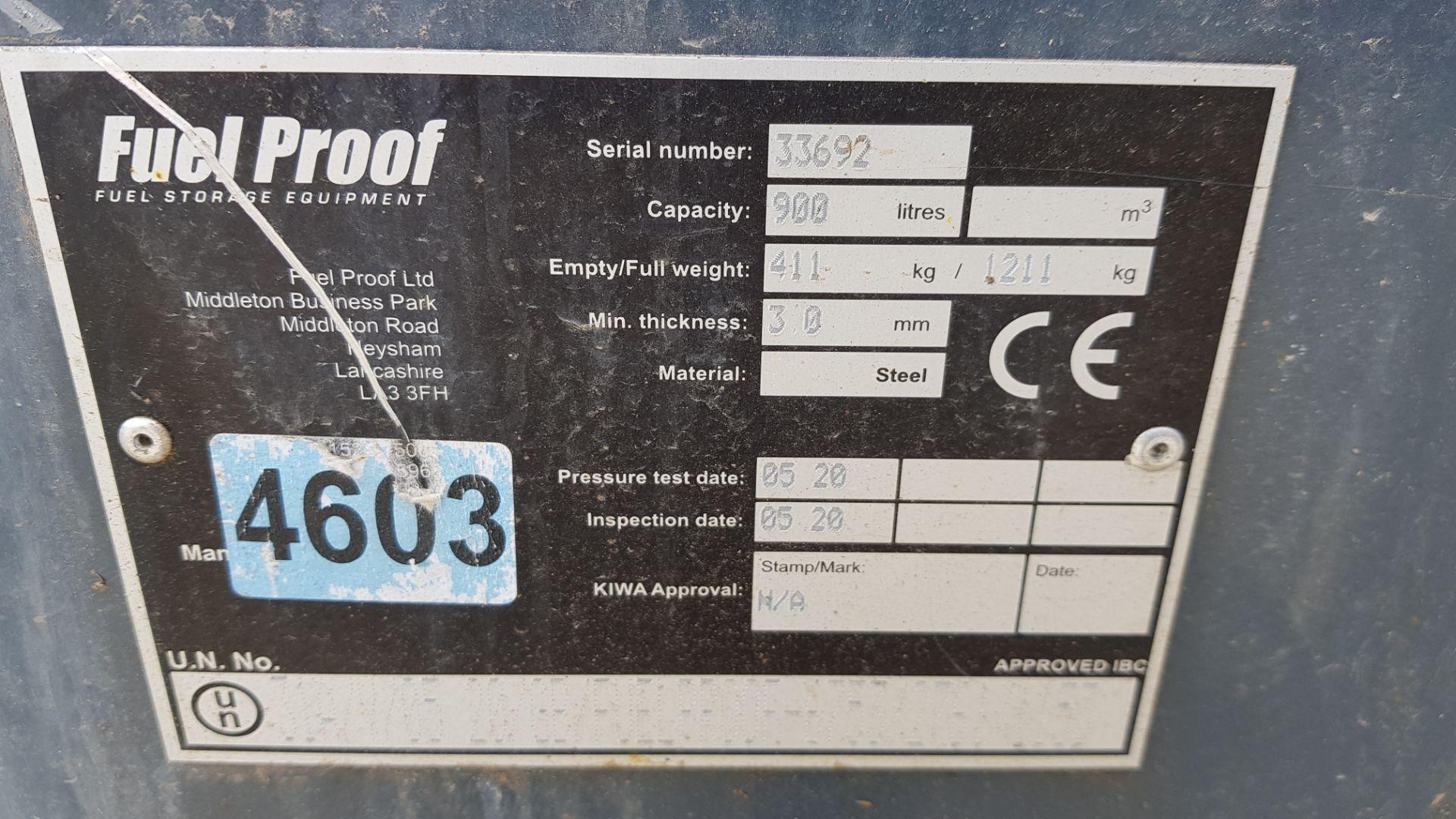 1 X (FUEL PROOF) 900 CUBE FUEL DISPENSER 900 LITRE CAPACITY SERIAL NUMBER - 33692 24V DIESEL PUMP - Image 2 of 3