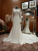 1 X (PRONOVIAS BARCELONA MISTIC MODERN) WEDDING DRESS MODEL - MISTIC OFW/ND CREPE/ENC/DHL COLOUR -