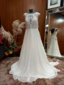 1 X (ALMA NOVIA) WEDDING DRESS MODEL - 4B130GASAEP1460 COLOUR - IVORY SIZE - UK10
