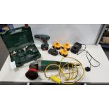 MIXED TOOL LOT TO INCLUDE BOSCH BATTERY DRILL AND CASE, ASSORTED BATTERYS, CHARGER AND 110V GRINDER