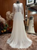 1 X (ZAC POSEN FOR WHITE EVA) WEDDING DRESS MODEL - EVA OFF WHITE TLMB & GASA SIZE - UK12 RRP - £1,