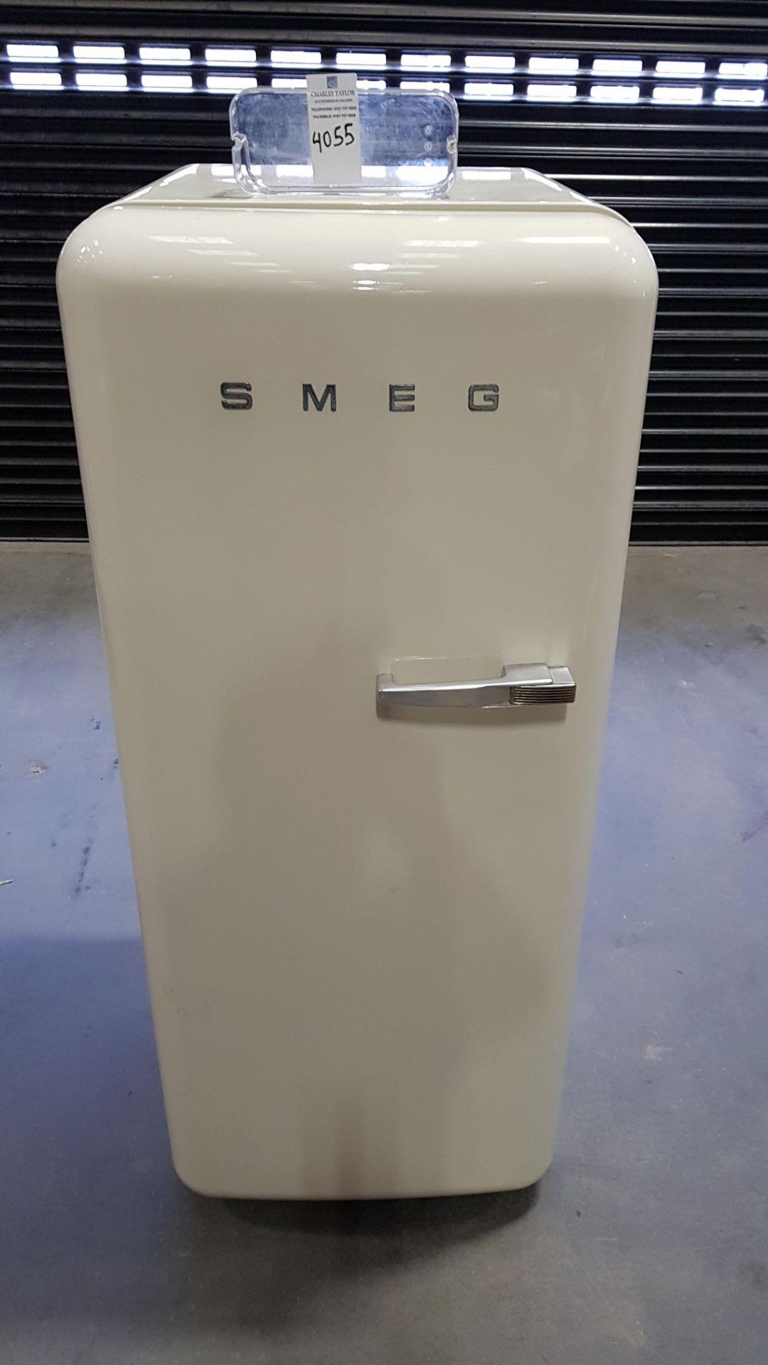 1 X (SMEG) CREAM FRIDGE WITH PLASTIC COMPARTMENTS WITHIN
