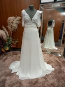 1 X (ALMA) WEDDING DRESS MODEL - 4B116GASAE01420 SIZE - UK14 RRP - £1,290