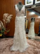 1 X (WILLOWBY BY WATTERS) WEDDING DRESS COLOUR - IVORY FLORAL DESIGN SIZE - UK8