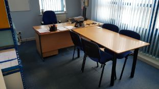 1 X L SHAPED LIGHTWOOD DESK, 1 X RECTANGLE LIGHTWOOD MEETING TABLE, 1 X BLUE FABRIC OFFICE CHAIR,