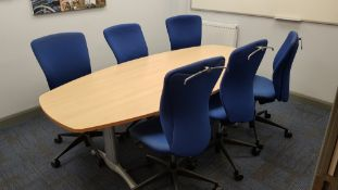 1 X LIGHTWOOD ELEPTICAL BOARDROOM TABLE, 6 X BLUE FABRIC OFFICE CHAIRS WITH CHROME COAT HANGER