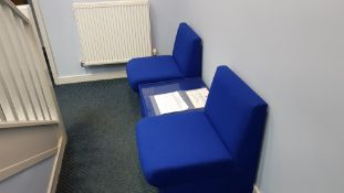 2 X BLUE FABRIC OFFICE CHAIRS, 1 X BLUE FABRIC GLASS TOPPED COFFEE TABLE