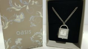 4 X BRAND NEW BOXED OASIS NECKLACE WITH PADLOCK PENDANT TIME PIECE (NOTE BATTERIES EXPIRED)