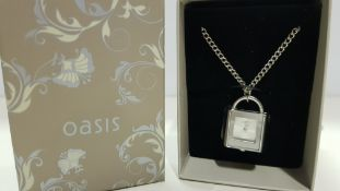 6 X BRAND NEW BOXED OASIS NECKLACE WITH PADLOCK PENDANT TIME PIECE (NOTE BATTERIES EXPIRED)