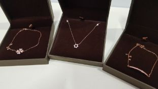 20 X ASSORTED BRAND NEW BOXED GAVI LOT CONTAINING ROSE GOLD COLOURED BRACELET WITH PENDANT, ROSE