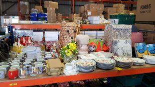 FULL BAY CONTAINING APPROX 75 + PIECES OF HOMEWARE ITEMS IE PLATES IN VARIOUS STYLES, BED THROWS,