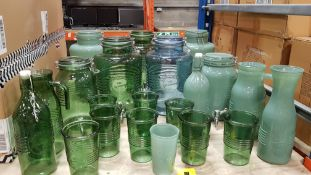 21 X PREMIER JARS AND GLASSES IN VARIOUS SIZES AND COLOURS