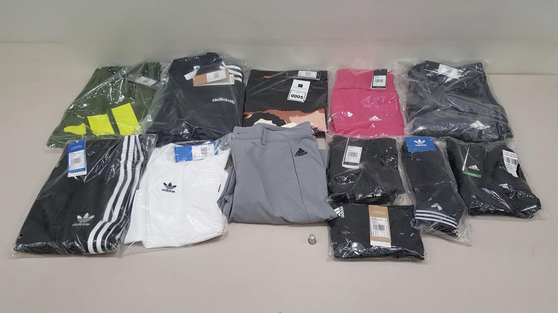 12 PIECE CLOTHING LOT CONTAINIG ADIDAS TRACK PANTS, ADIDAS SOCKS, ADIDAS PANTS AND ADIDAS T SHIRTS