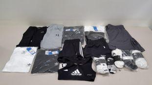 15 PIECE CLOTHING LOT CONTAINING ADIDAS SOCKS, UNDER ARMOUR PANTS, ADIDAS T SHIRTS, REEBOK SHORTS