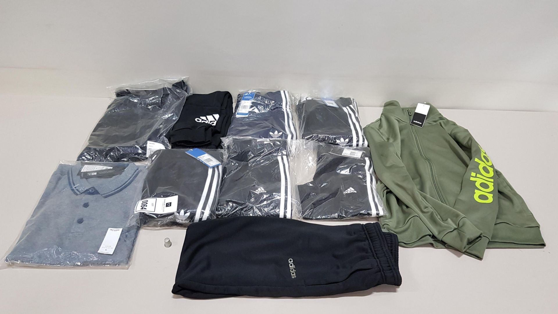 10 PIECE CLOTHING LOT CONTAINING ADIDAS TREFOIL PANTS, ADIDAS TRACK PANTS, ONLY & SONS POLO SHIRT