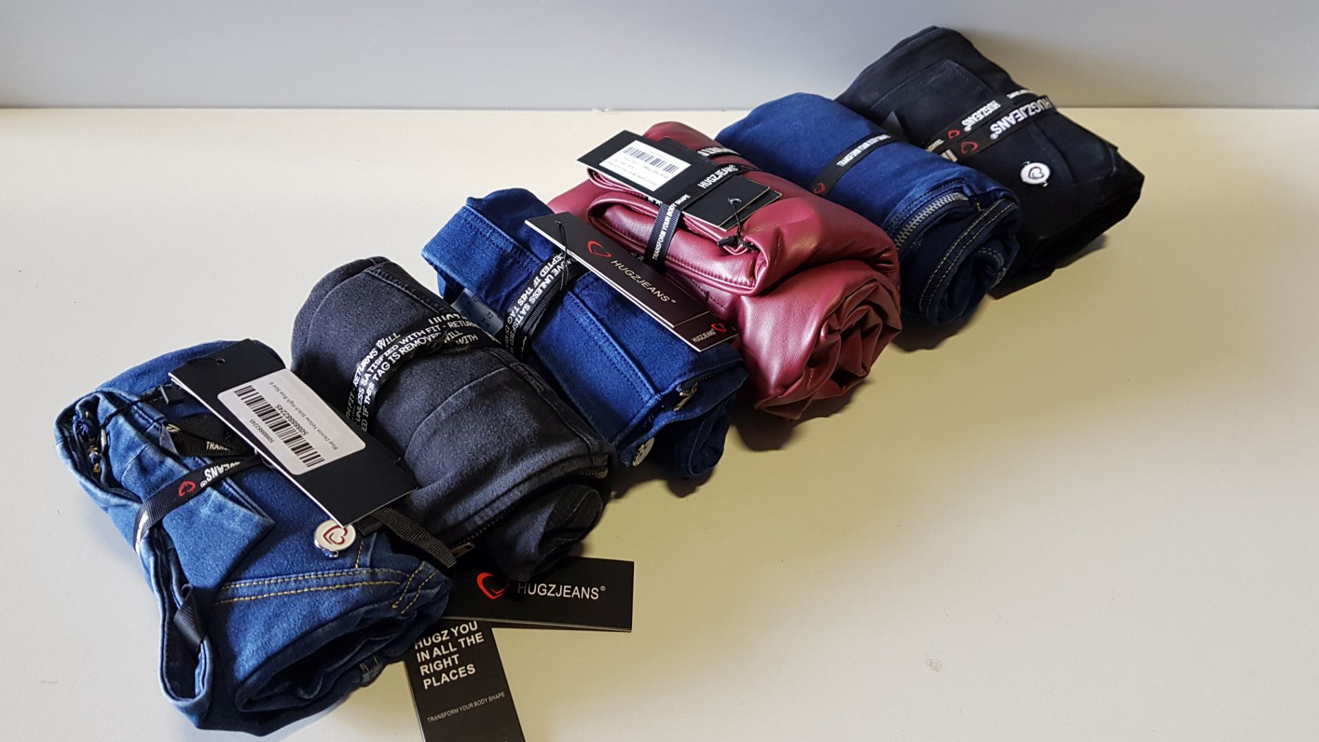 12 X BRAND NEW HUGZ JEANS DESIGNER BRANDED - ALL SIZE 6 - XS - IE. JEANS / FAUX LEATHERS /