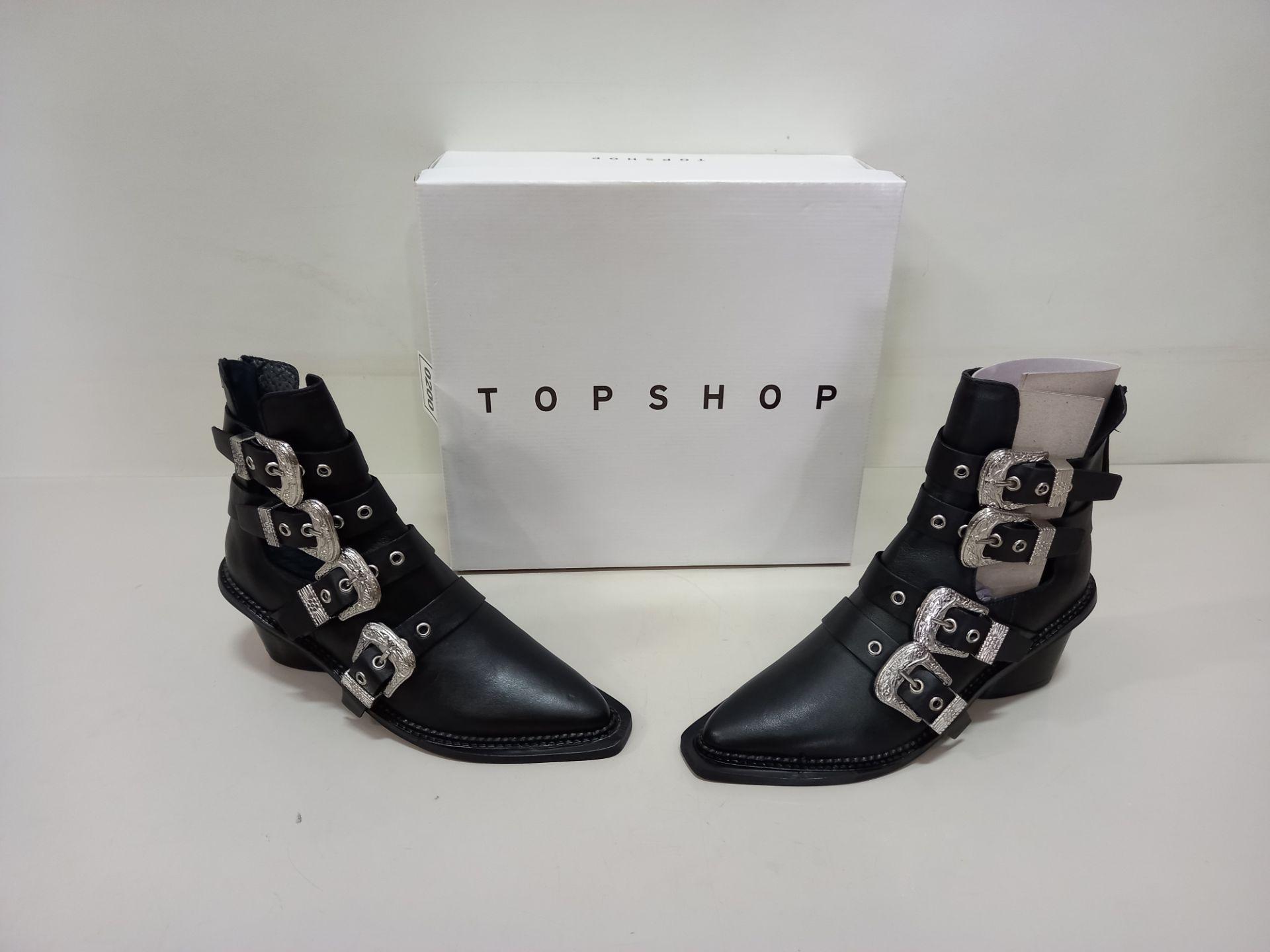7 X BRAND NEW TOPSHOP MAGIC BLACK SHOES UK SIZE 6 RRP £85.00 (TOTAL RRP £595.00)