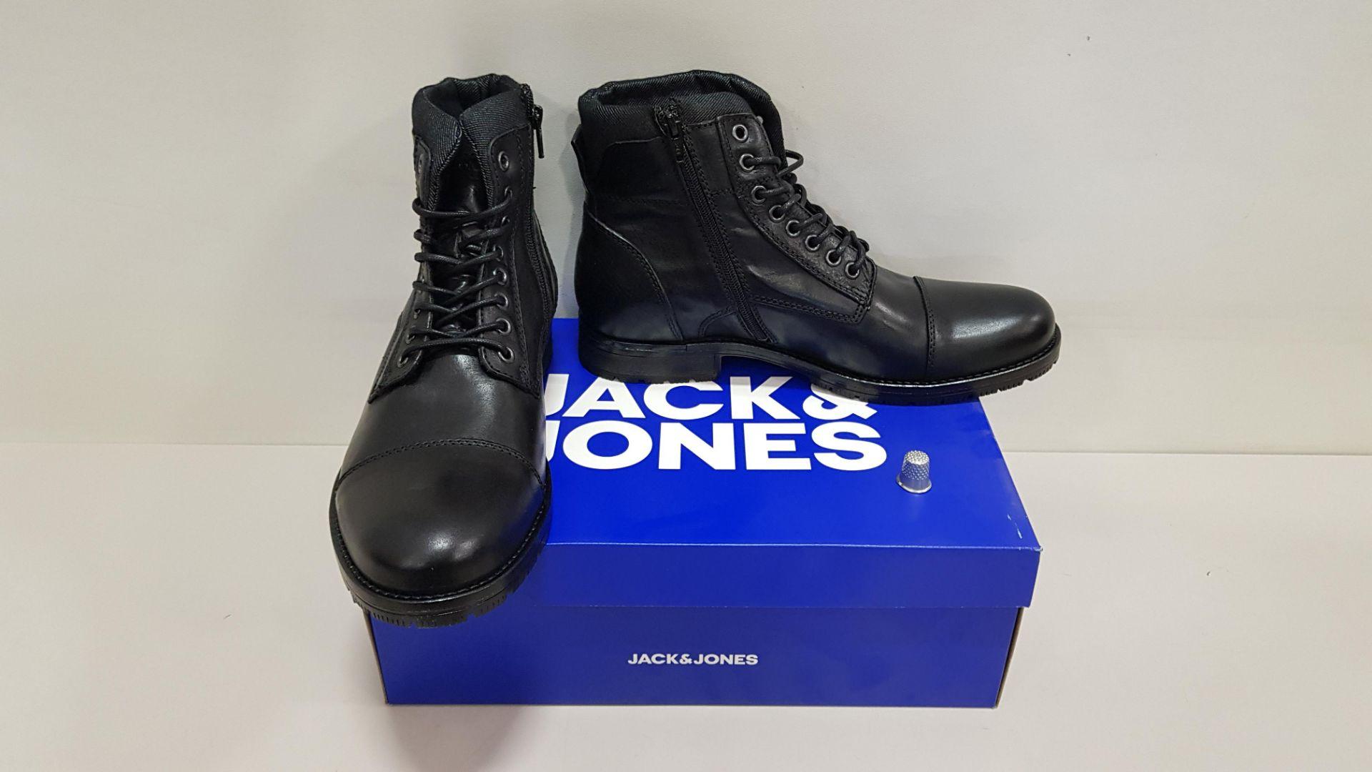 5 X BRAND NEW JACK & JONES BLACK BOOTS UK SIZE 8 RRP £90.00 (TOTAL RRP £450.00)