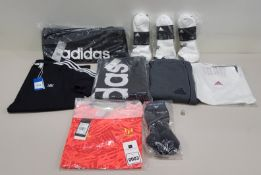 10 PIECE CLOTHING LOT CONTAINING ADIDAS SOCKS, ADIDAS T SHIRT, ADIDAS SWEATPANTS AND AN ADIDAS