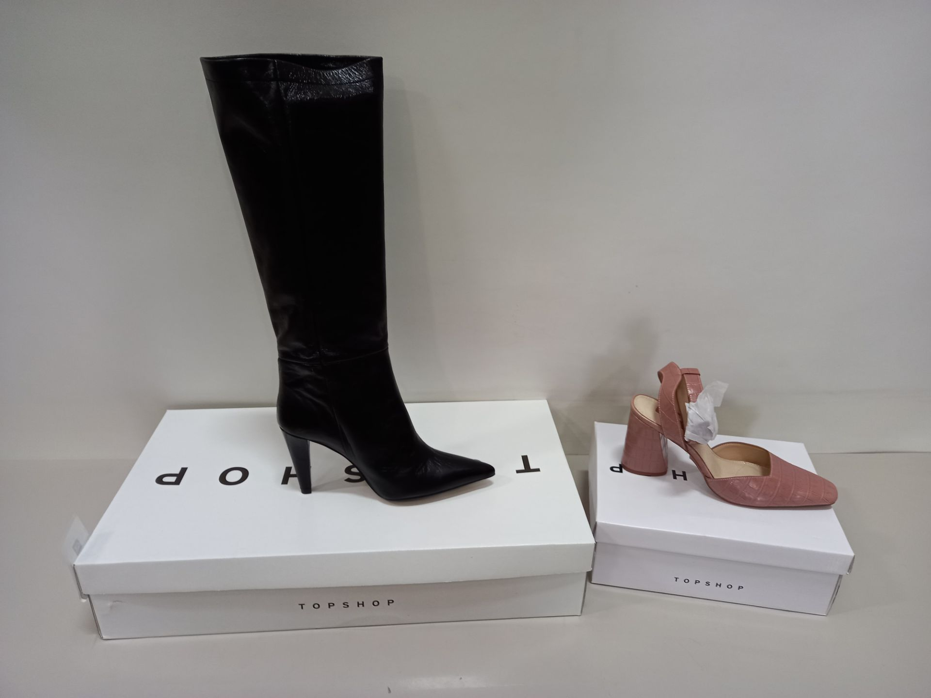 5 X BRAND NEW TOPSHOP SHOES - 3 X TAYLOR BLACK SHOES UK SIZE 6 RRP £120.00 AND 2 X GAZE PINK SHOES