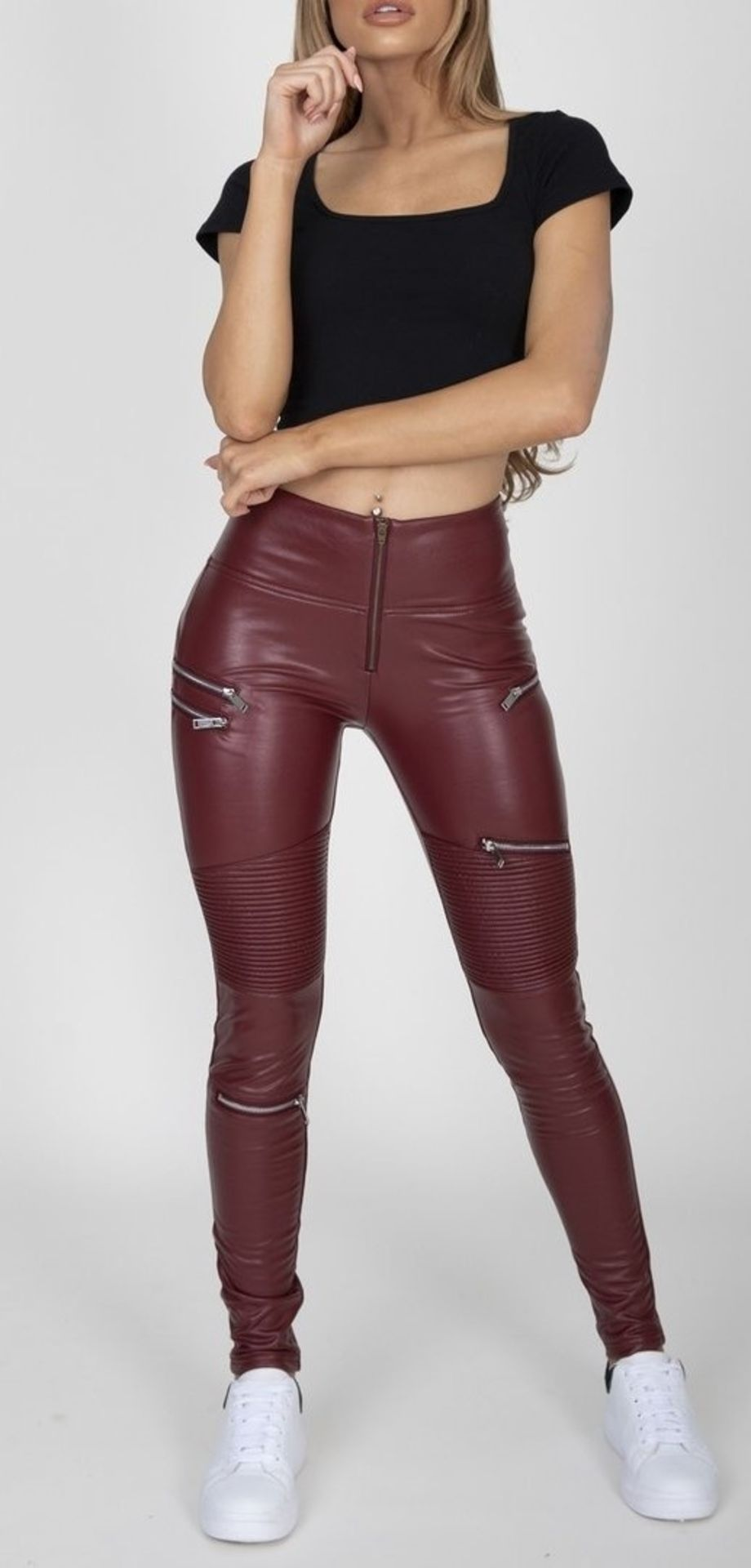 9 X BRAND NEW HUGZ JEANS DESIGNER BRANDED WINE COL FAUX LEATHER BIKER PANTS HIGH WAIST SIZE 8 -